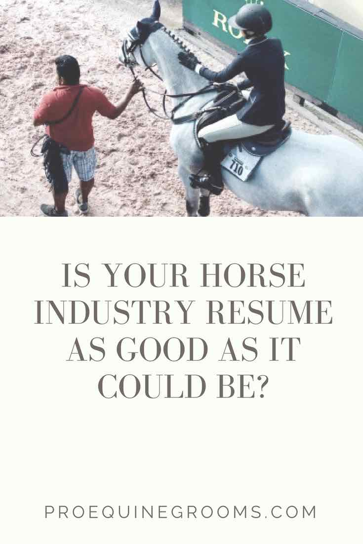 How is Your Horse Industry Resume?